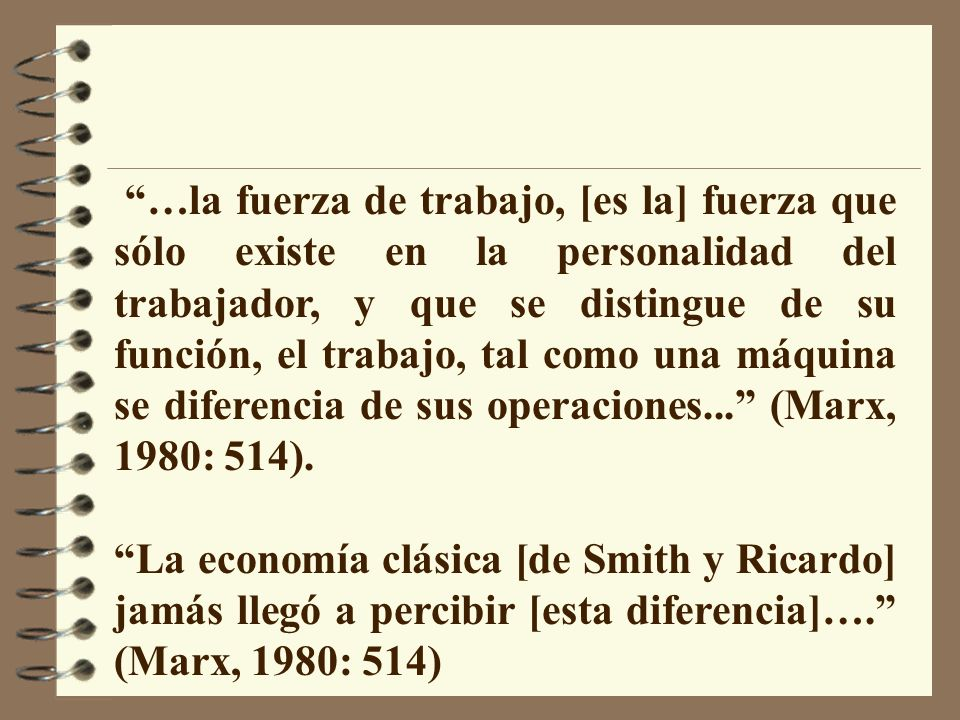 …la fuerza de trabajo, [es la] fuerza que sólo existe en la personalidad del trabajador, y que se distingue de su función, el trabajo, tal como una máquina se diferencia de sus operaciones... (Marx, 1980: 514).